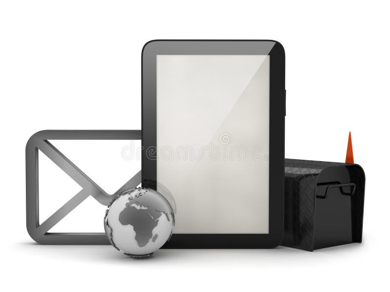 压片计算机、信封邮箱和形状  库存例证
