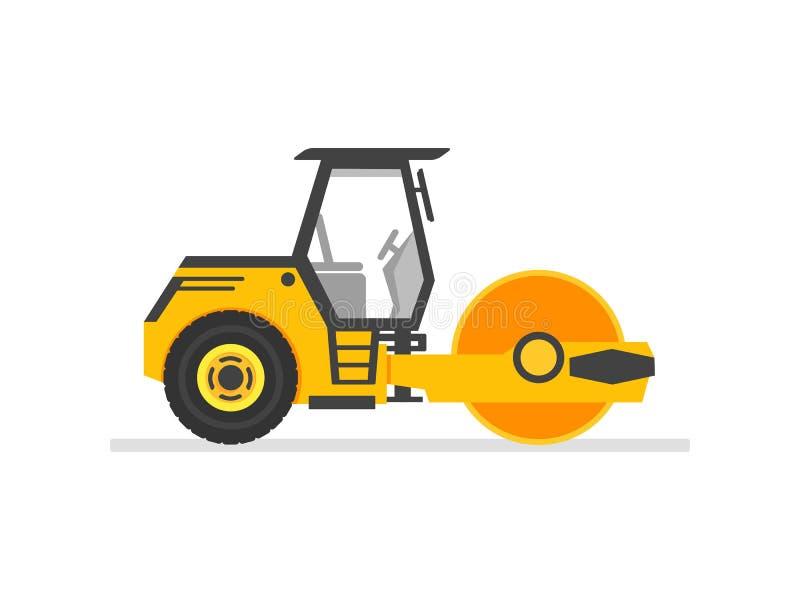 压路机重的设备 压路机沥青压紧机 在白色干净的背景隔绝的平的样式压路机 传染媒介illu 皇族释放例证