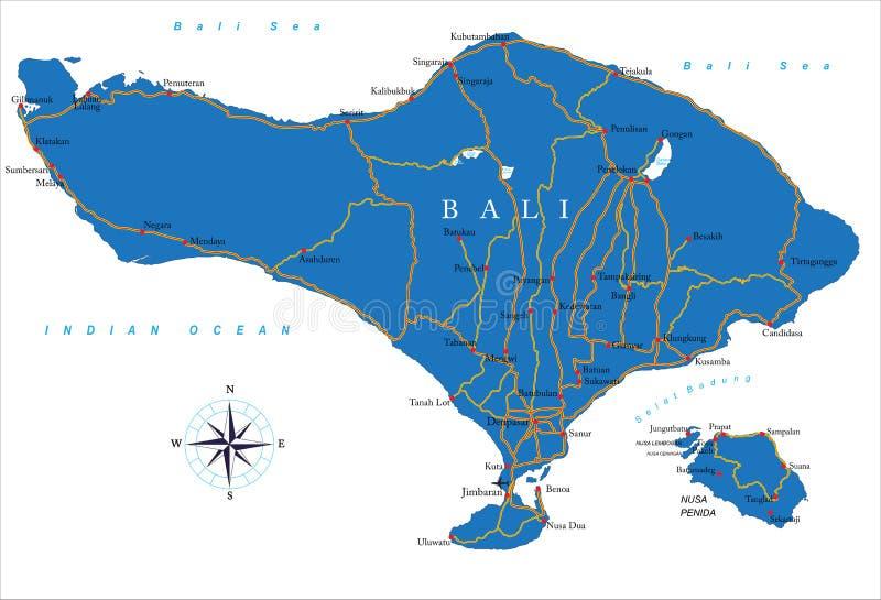 巴厘岛地图 向量例证