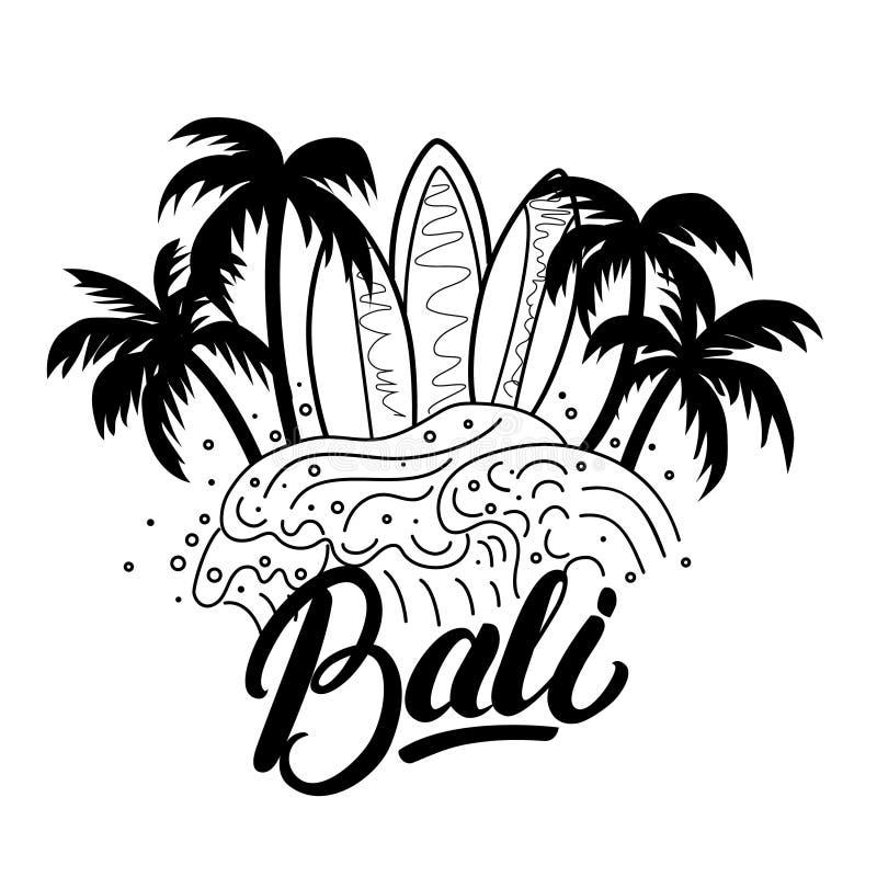 巴厘岛手字法海浪海报,发球区域印刷品 库存例证