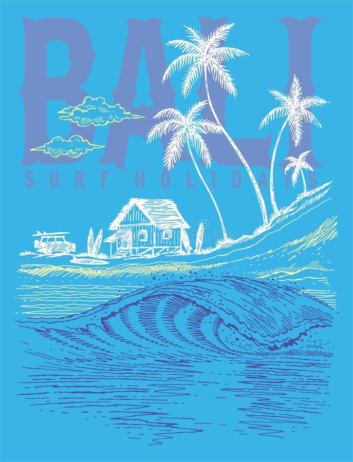 巴厘岛海浪假日 皇族释放例证