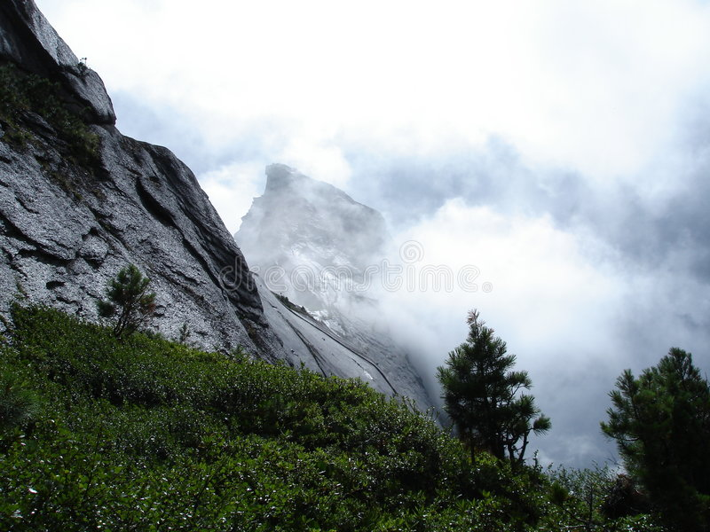 厚实雾的山 免版税库存照片