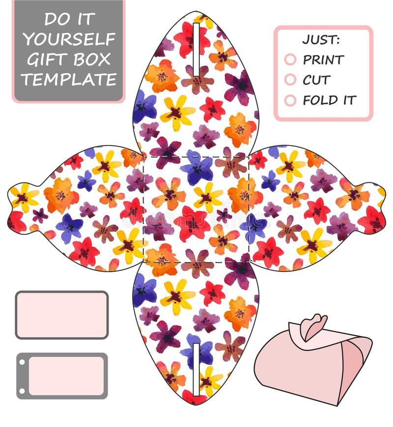 厚待,冲切的礼物盒 配件箱空的花卉标签模式模板 向量例证