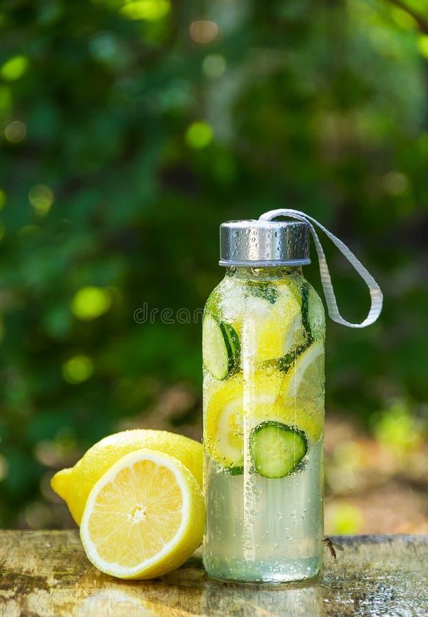 厚脸皮的水 戒毒所水用柠檬 瓶凉水用柠檬 图库摄影