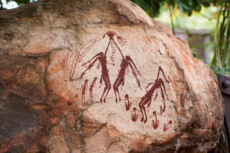 原史岩石艺术在澳大利亚的金伯利地区 免版税库存照片