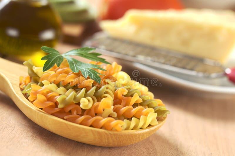 原始五颜六色的fusilli的意大利面食 免版税库存图片
