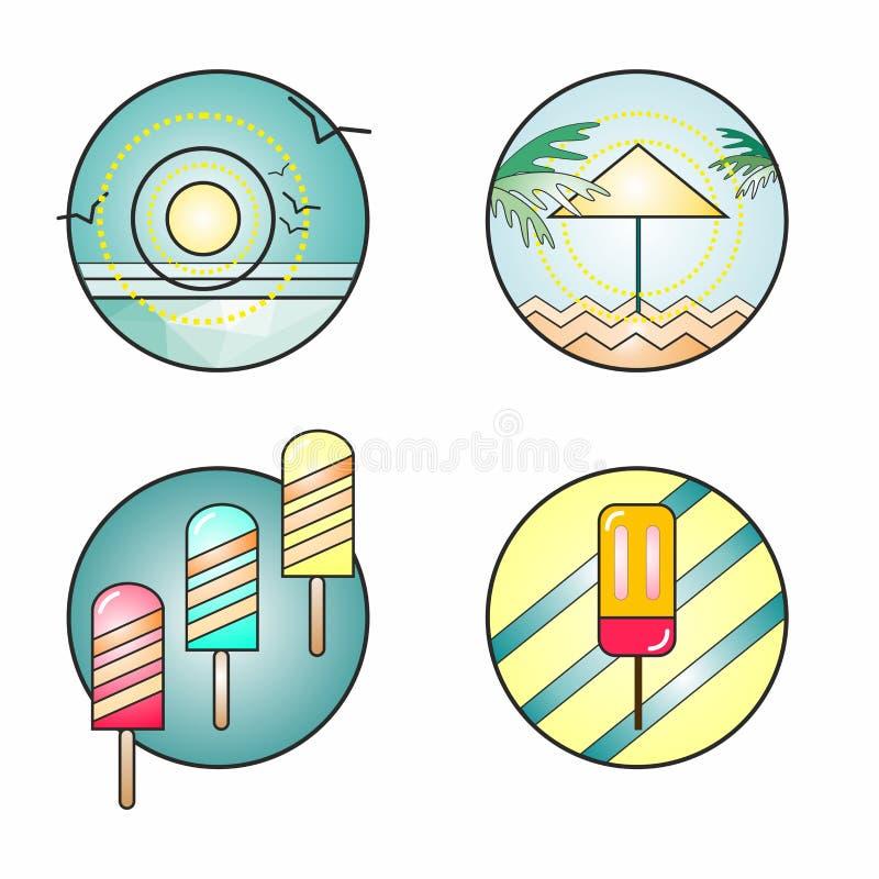 原始和创造性的夏天徽章 向量例证