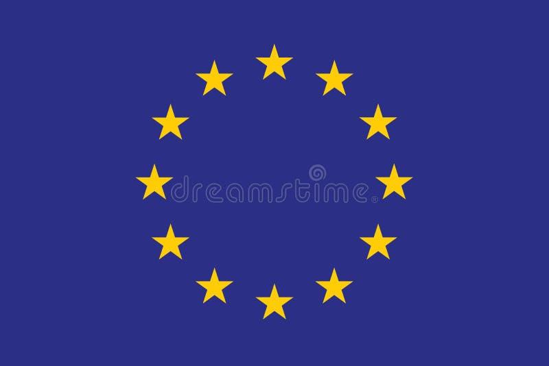 原始和简单的欧洲旗子(欧盟)隔绝了在正式颜色和正确ptoportion的传染媒介 皇族释放例证