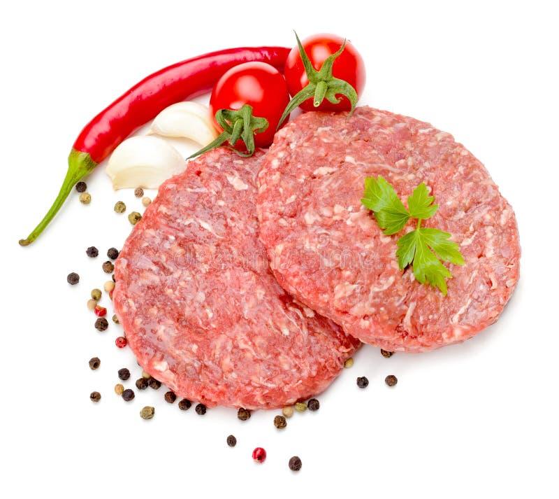 原始汉堡包的肉 库存照片