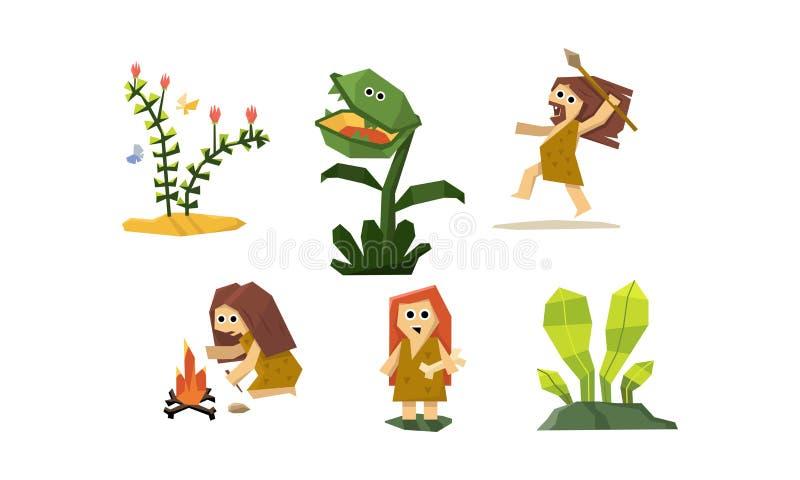 原始洞人集合、逗人喜爱的几何史前穴居的人和妇女,肉食植物传染媒介例证 皇族释放例证