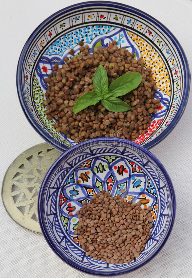 原始煮熟的扁豆 库存照片