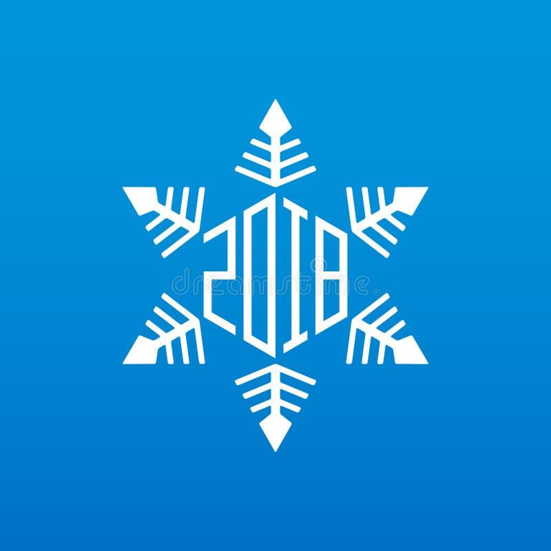 原始的传染媒介雪花与新年日期 新年快乐201 库存例证