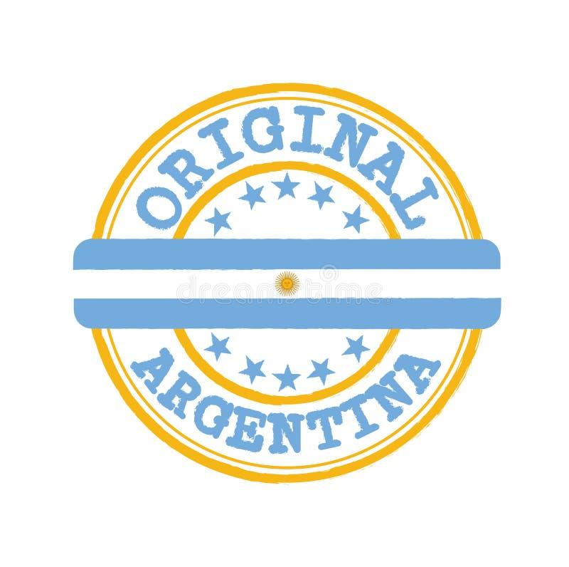 原始的商标传染媒介邮票与文本阿根廷和栓的在与国家旗子的中部 皇族释放例证