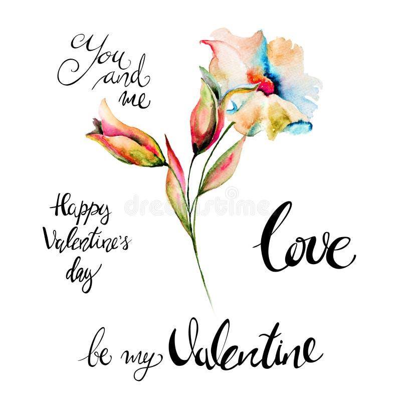 原始的夏天开花与标题愉快的Valentine's天 皇族释放例证