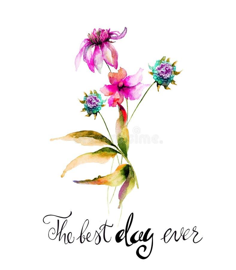 原始的夏天开花与标题最佳的天 向量例证