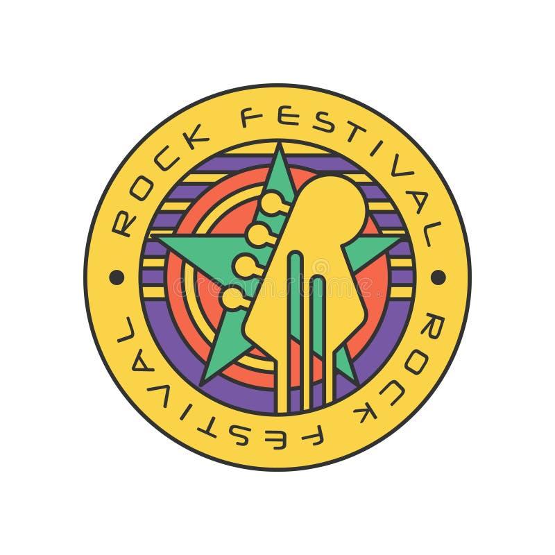 原始的岩石节日商标模板 音乐费斯特与圈子的摘要线艺术,星和电吉他朝向 向量