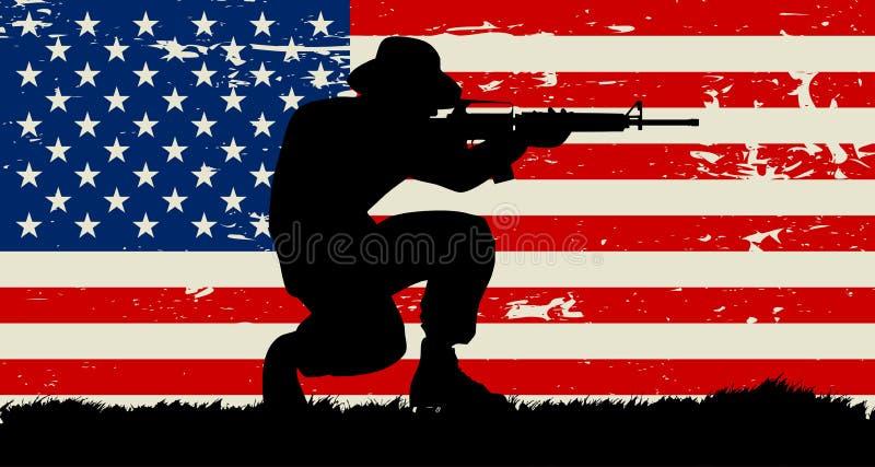 原始的战士蹲下的例证和美国难看的东西旗子 向量例证