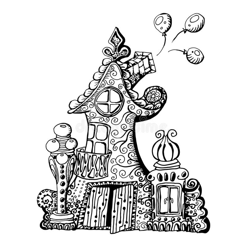 原始的手拉的乱画样式神仙房子 能为孩子彩图设计使用 皇族释放例证