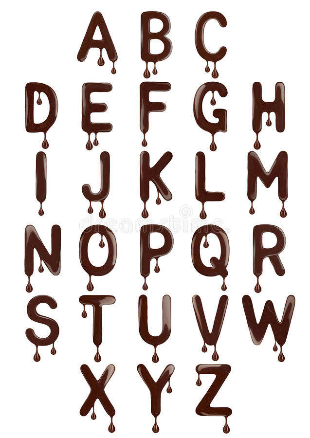 原始的时髦的拉丁字母由熔化巧克力制成 免版税库存照片