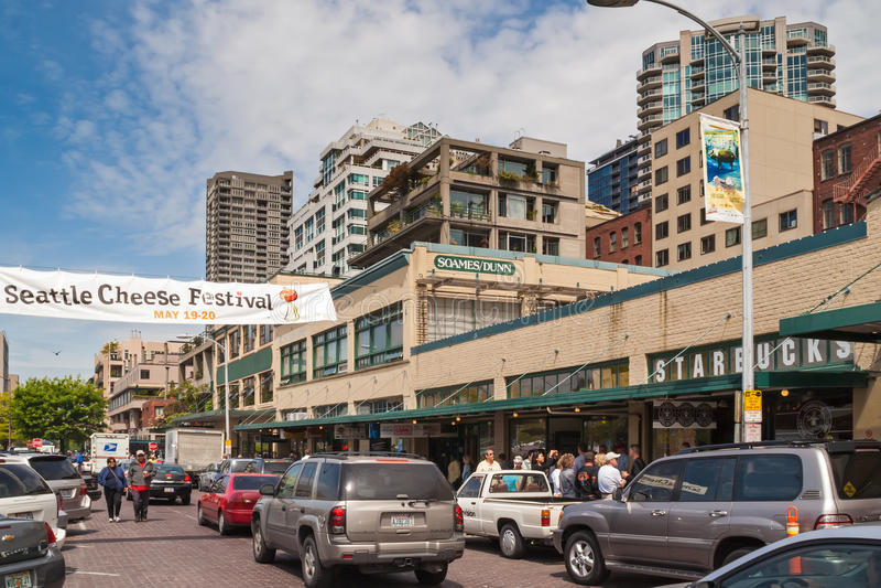 原始的星巴克商店在西雅图 免版税库存图片