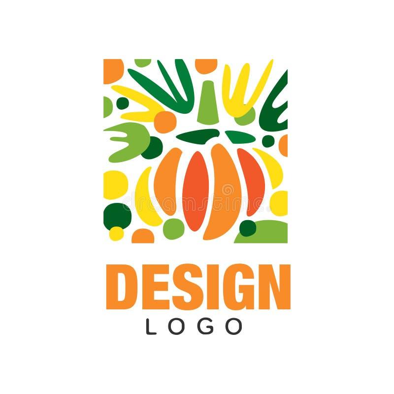 原始的果子商标模板 甜和健康食物 在长方形形状的抽象象征 五颜六色的平的传染媒介设计 皇族释放例证