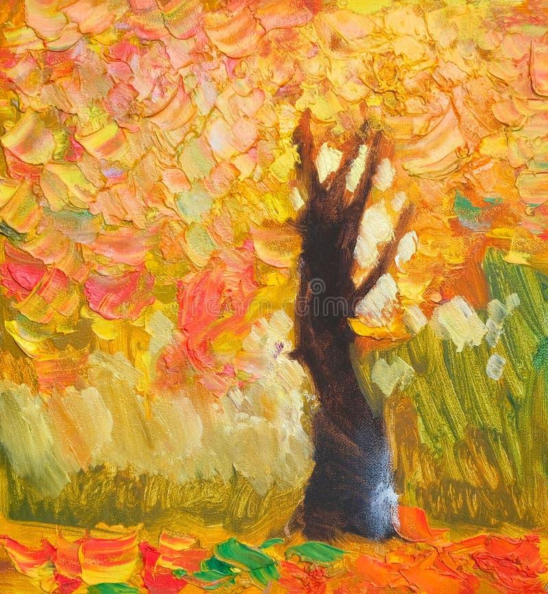 原始的油画偏僻的秋天树,落叶,绘在帆布 Impasto艺术品 印象主义艺术 皇族释放例证