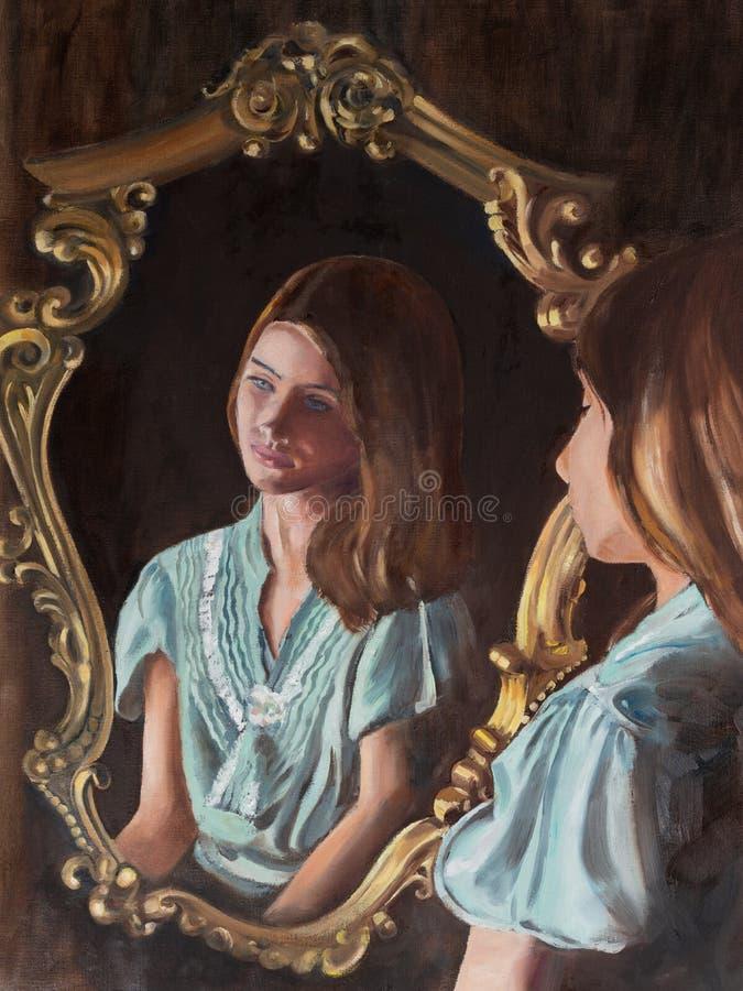 原始的油画,少女的画象 库存图片