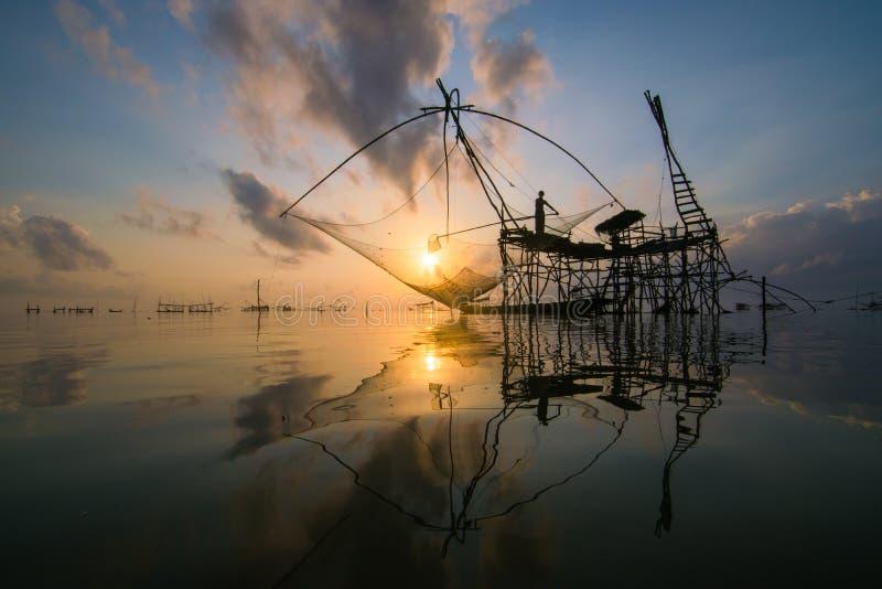 原始的渔在泰国 库存照片