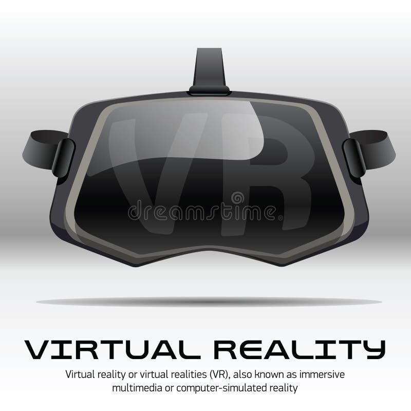 原始的立体镜3d VR耳机 正面图 向量例证