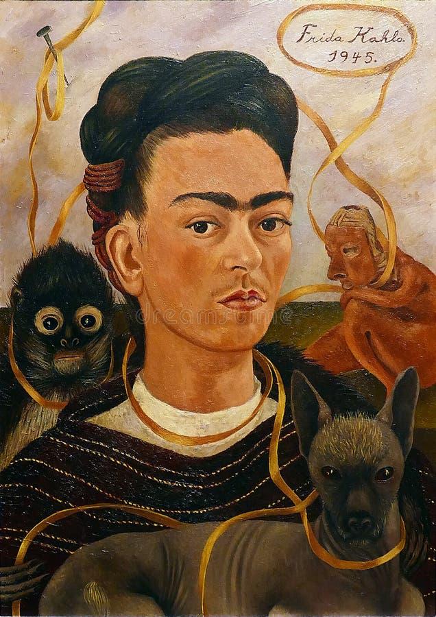 原始的绘画'与小猴子的自画象的'照片芙烈达・卡萝 Frameless 库存照片