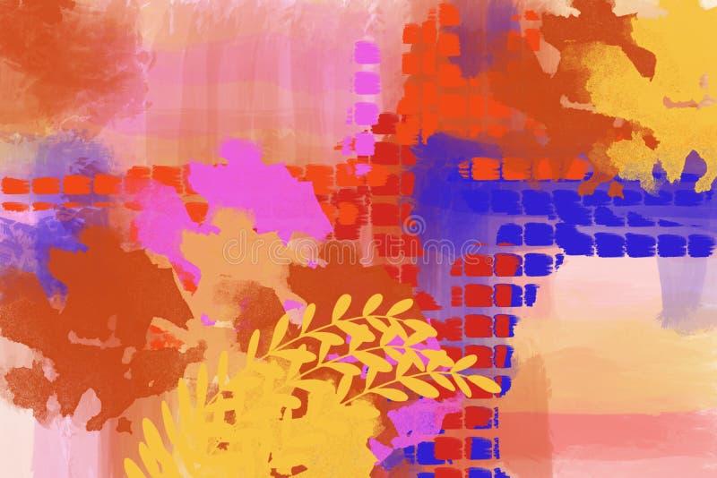 原始的绘画摘要格子花呢披肩现代艺术设计背景艺术 皇族释放例证