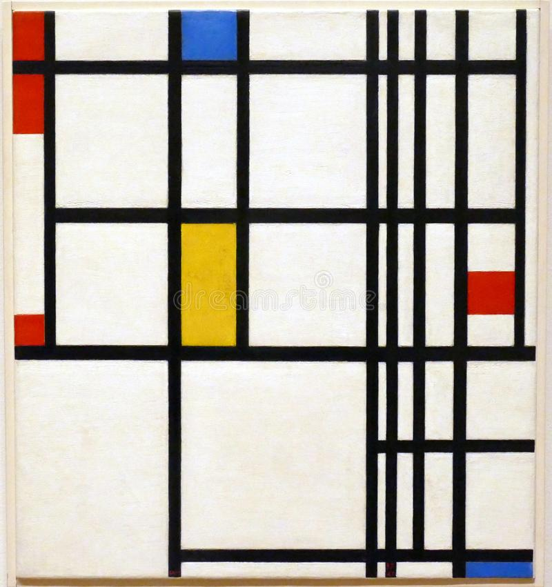原始的绘画的照片皮特・蒙德里安:在红色,蓝色和黄色`的`构成 免版税库存图片