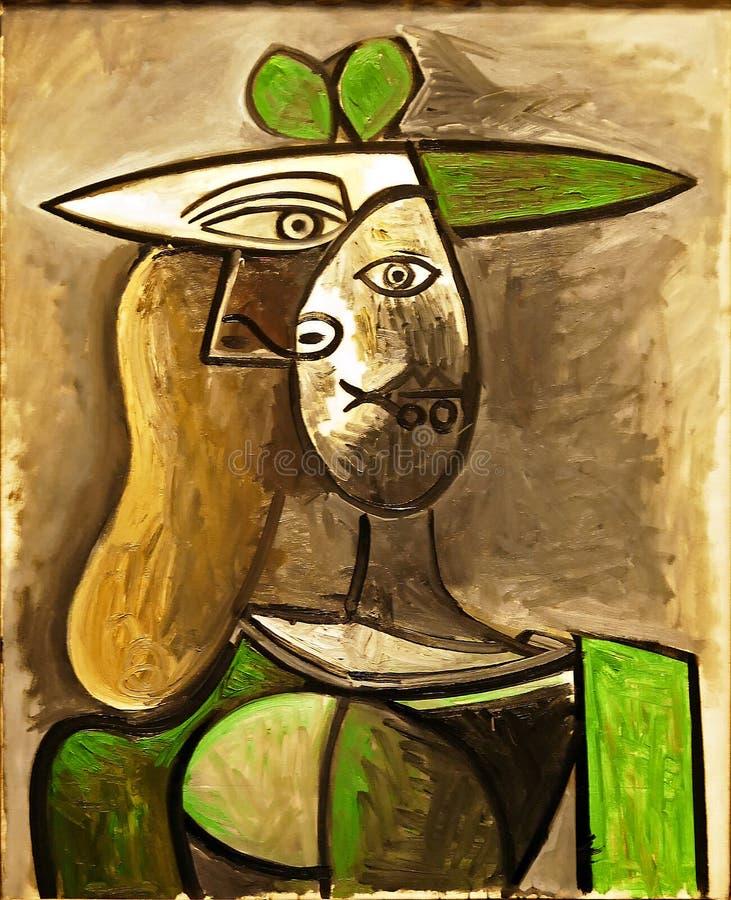 原始的绘画`妇女的照片一绿色帽子`的巴勃罗・毕卡索, frameless 库存照片