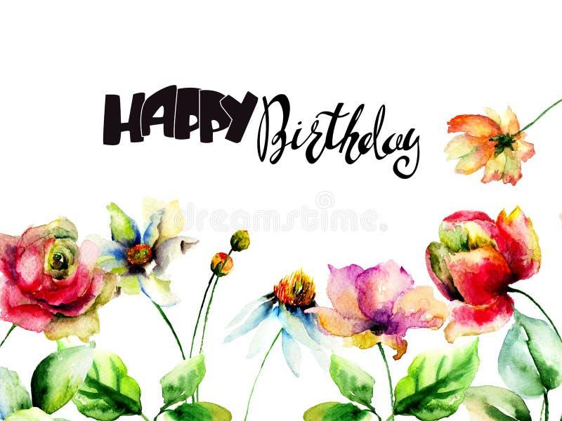 原始的花与标题生日快乐 皇族释放例证