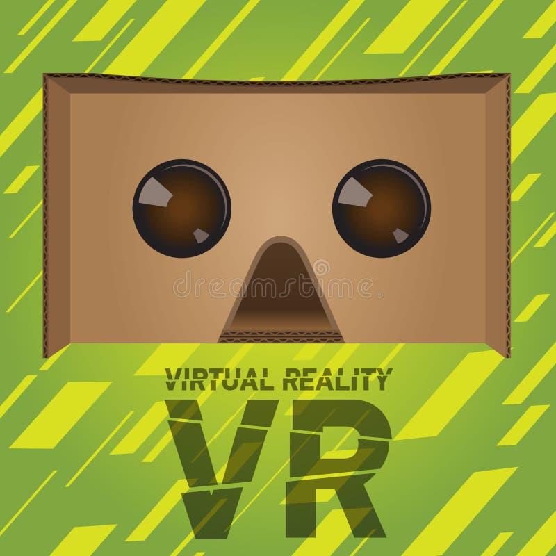 原始的虚拟现实纸板耳机设备 向量例证