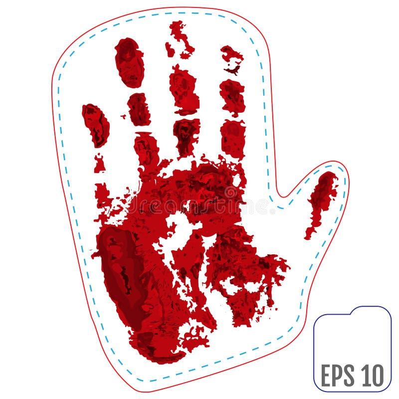 原始的补丁,与血液圣诞老人冬天手套的徽章  向量 向量例证