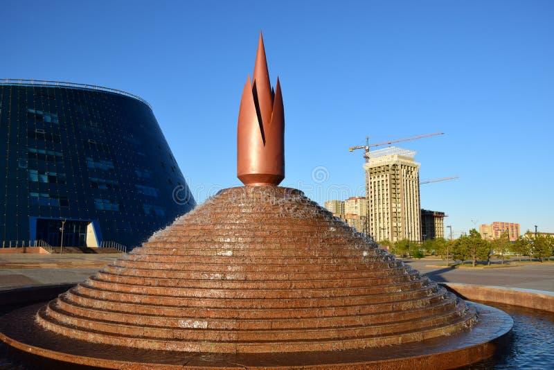 原始的设计喷泉在阿斯塔纳 免版税库存照片