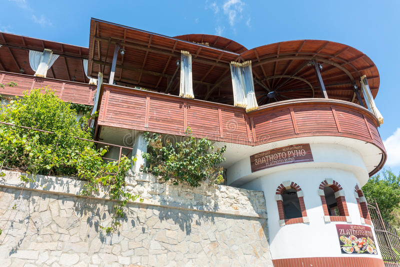 原始的餐馆建筑学在老Nessebar,保加利亚 免版税库存图片