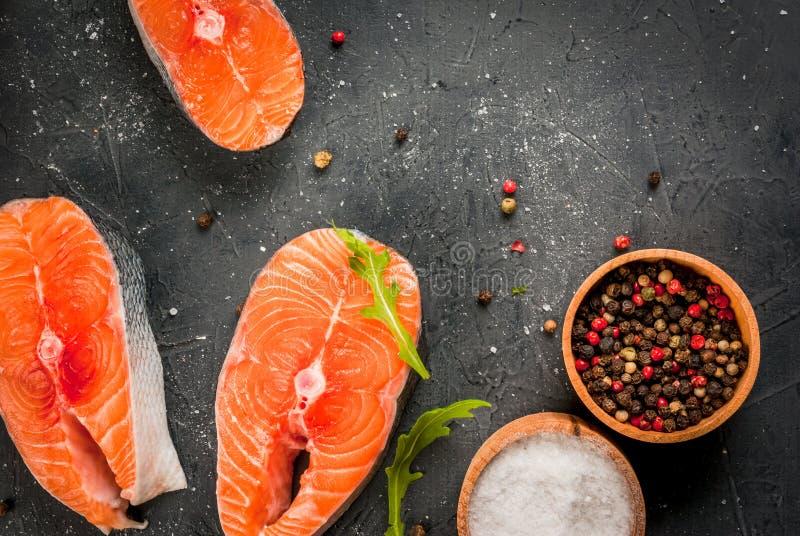 原始的鲑鱼排 免版税图库摄影