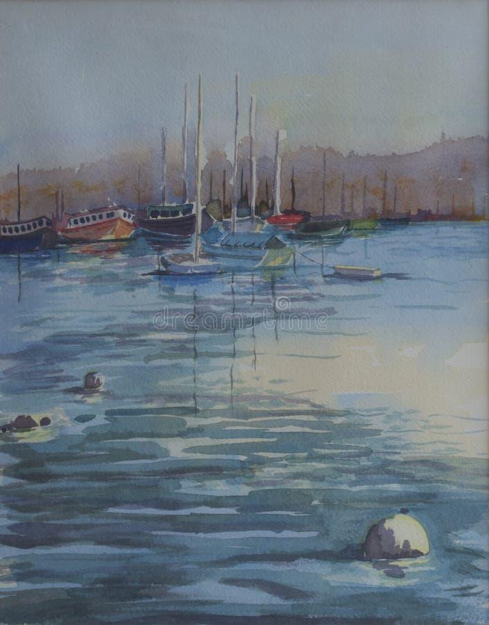 原始的水彩绘画-被停泊的游艇 向量例证