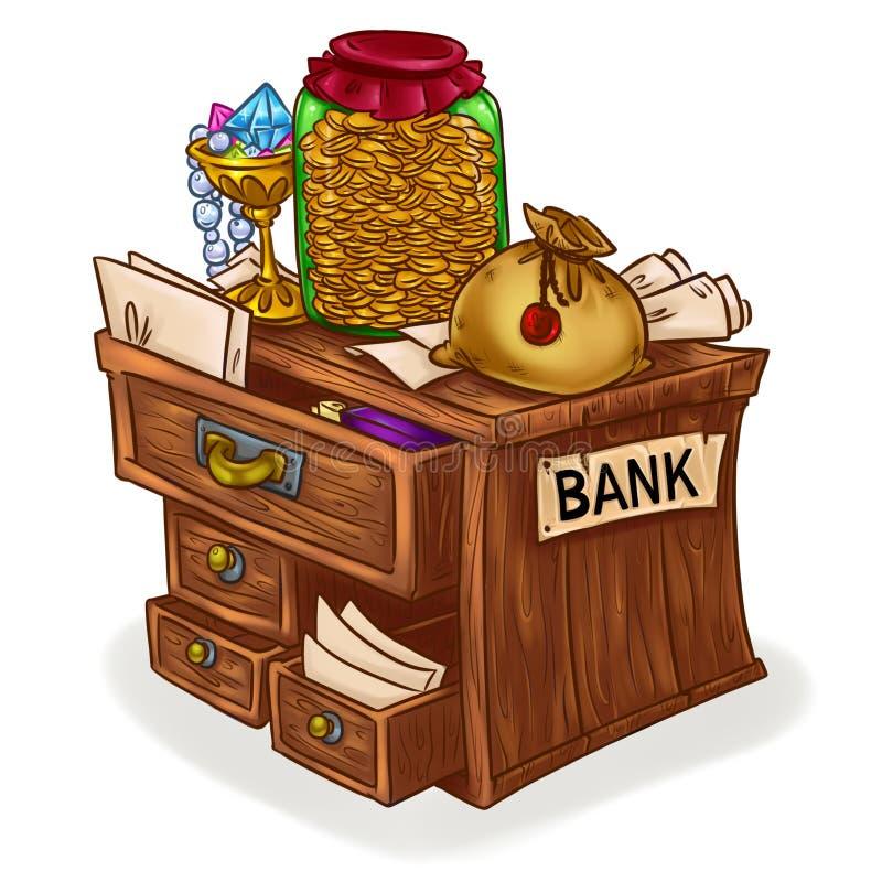 原始银行动画片例证图象 库存例证