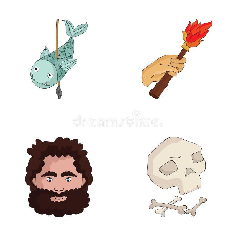 原始,鱼,矛,火炬 在动画片样式的石器时期集合汇集象导航标志储蓄例证网 向量例证