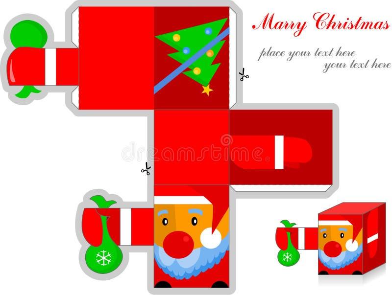 原始3d圣诞老人,与圣诞节明信片结婚 库存例证
