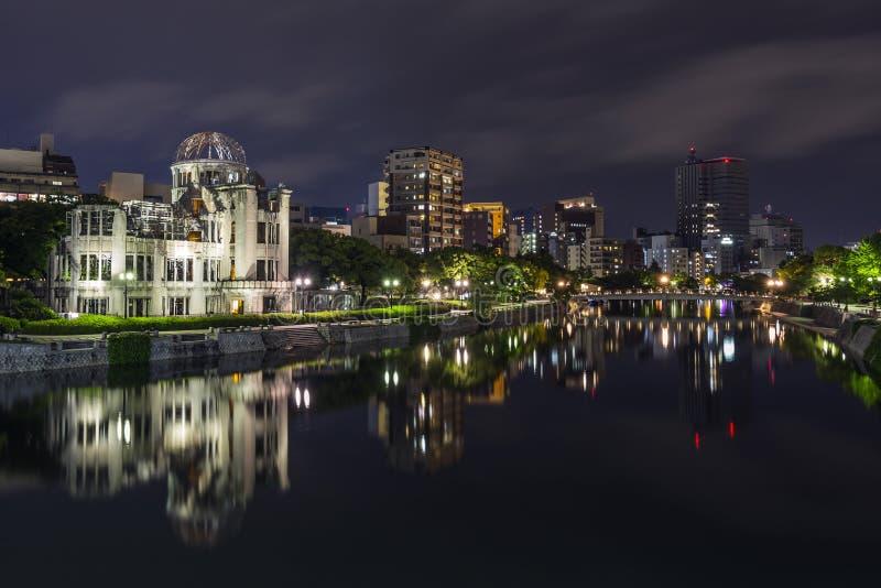 原子弹圆顶在晚上在广岛 免版税库存图片