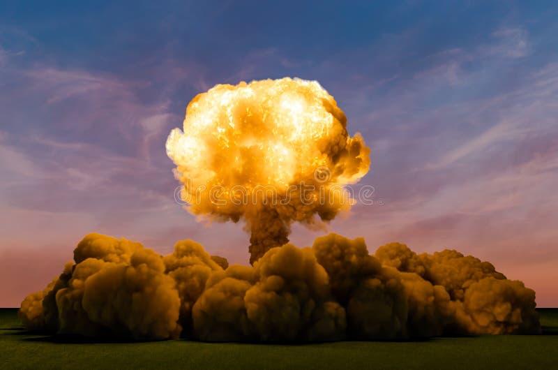 原子弹爆炸,3D 向量例证