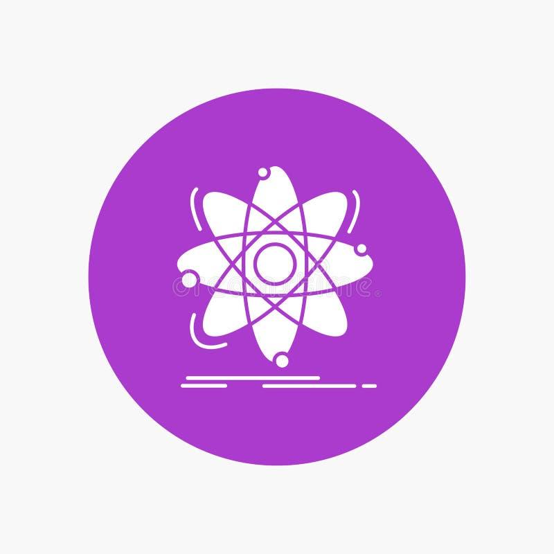 原子,科学,化学,物理,在圈子的核白色纵的沟纹象 r 皇族释放例证