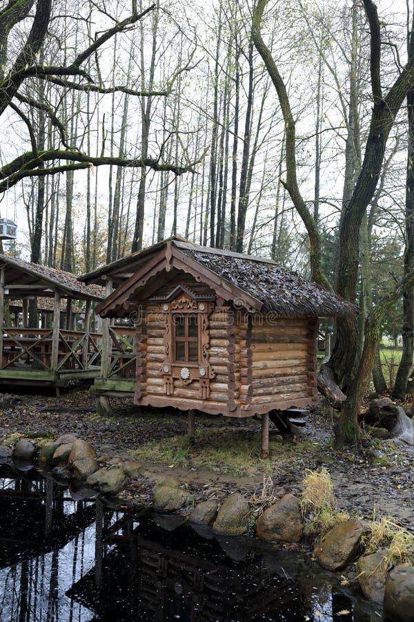 原木小屋看法在池塘附近的 免版税图库摄影