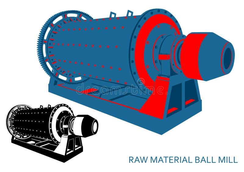 原材料单色的球磨机青红色和 向量例证