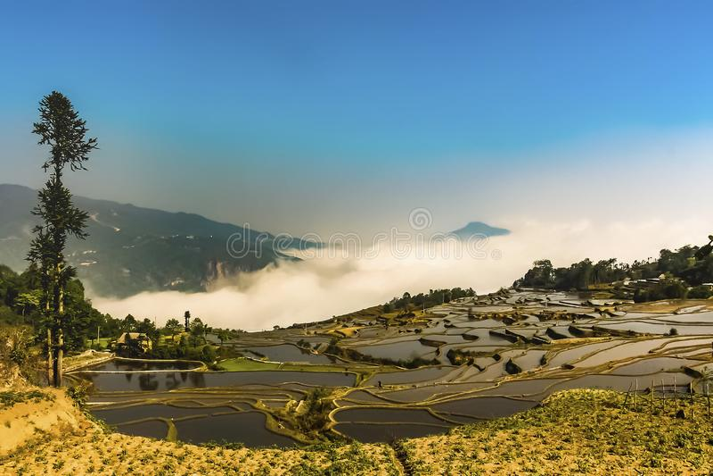原阳县鸟瞰图在红河专区在云南东南,中国 免版税库存图片
