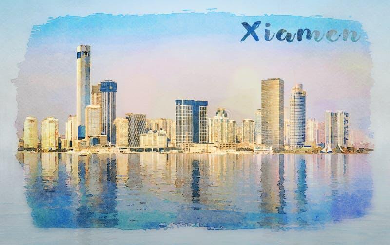 厦门的地平线的水彩有反射的 免版税库存图片